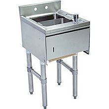 "BK Resources BKUBS-1012HST-518S 15""Wx18-1/4""D Stainless Steel Slimline Underbar DumpSink"