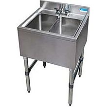 "BK Resources BKUBS-224S 24""W Two Compartment Stainless Steel Underbar Sink"