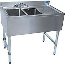 "BK Resources BKUBS-236RS (2) Compartment 36"" Wide Underbar Sink with Right Drainboard"
