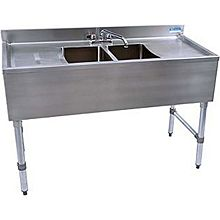 "BK Resources BKUBS-248TS 48""W Two Compartment Stainless Steel Underbar Sink"