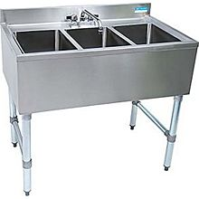 "BK Resources BKUBS-336S 36""W Three Compartment Stainless Steel Underbar Sink"