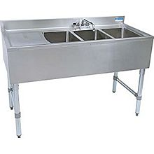 "BK Resources BKUBS-348LS (3) Compartment 48"" Wide Underbar Sink with Left Drainboard"