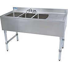 "BK Resources BKUBS-348RS (3) Compartment 48"" Wide Underbar Sink with Right Drainboard"