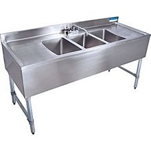 "BK Resources BKUBS-360TS 60""W (3) 10""x14""x10"" Compartment Underbar Sink w/ S/s Leg"