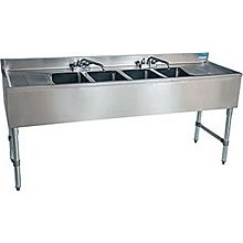 "BK Resources BKUBS-484TS 84""W Four Compartment Stainless Steel Underbar Sink"