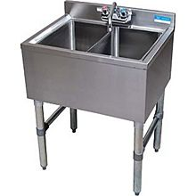 "BK Resources BKUBW-224S 24""Wx18-1/4""D Stainless Steel Slimline Underbar Sink"