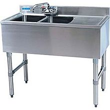 "BK Resources BKUBW-236RS 36""Wx18-1/4""D Stainless Steel Slimline Underbar Sink"