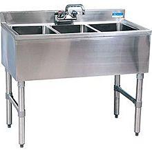 """BK Resources BKUBW-336S 36""""Wx18-1/4""""D Stainless Steel Slimline Underbar Sink"""