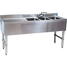 """BK Resources BKUBW-348LS 48""""Wx18-1/4""""D Stainless Steel Slimline Underbar Sink"""