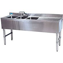 """BK Resources BKUBW-348RS 48""""Wx18-1/4""""D Stainless Steel Slimline Underbar Sink"""