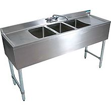 "BK Resources BKUBW-372TS 72""W (3) Compartment Slim-Line Underbar Sink w/ S/s Leg"