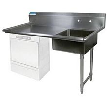 "BK Resources BKUCDT-50-R-SS 50"" Undercounter Soiled Dishtable Right Side w/ S/s Legs"