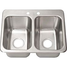 "BK Resources DDI2-10141024 Two Compartment 24""x18"" Stainless Steel Drop-In Sink"