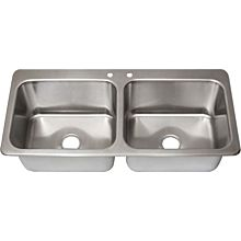 "BK Resources DDI2-20161224 Two Compartment (2) 20"" x 16"" Bowls- Drop-In Sink"