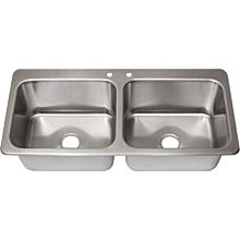 "BK Resources DDI2-20161224-P-G Two Compartment (2) 20"" x 16"" Bowls- Drop-In Sink W/Faucet"