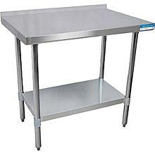 BK Resources VTTR-2424 24x24 Work Prep Table Stainless Top w/ 1.5in Backsplash