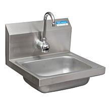 "BK Resources BKHS-W-1410-1-P-G Hand Sink 1 Hole 3-1/2"" Drain with Sensor Faucet"