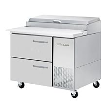 """Blue Air BAPP44-D2-HC 44"""" Refrigerated Pizza Prep Table with 2 Drawers - 11.3 Cu. Ft."""