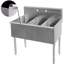 "36"" Economy 3 Compartment Utility Sink, 12"" x 21"" Bowl - Front Edge"