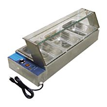 Omcan BSB-3 3 Well Food Warmer, Bain marie, with glass sneeze guard