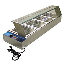 Omcan BSB-4 4 Well Food Warmer, Bain marie, with glass sneeze guard