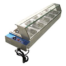Omcan BSB-5 5 Well Food Warmer, Bain marie, with glass sneeze guard