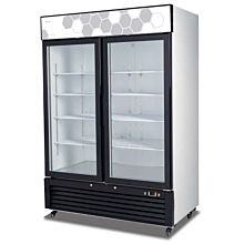 "Migali C-49FM 54"" Double Glass Swing Door Merchandiser Freezer - 49 Cu. Ft."