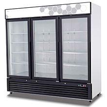 """Migali C-72FM 82"""" Triple Glass Swing Door Merchandiser Freezer - 72 Cu. Ft."""