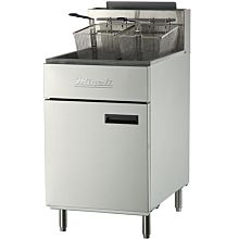 "Migali C-F75 21"" Stainless Steel Floor Fryer - 75 lb."