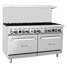 "Migali C-RO10 60"" 10 Burner Gas Range with 2 Ovens"