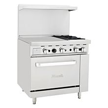 "Migali C-RO2-24GL 36"" 2 Burner Gas Range with Oven with 24"" Griddle"