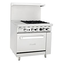 "Migali C-RO4-12GL 36"" 4 Burner Gas Range with Oven with 12"" Griddle"
