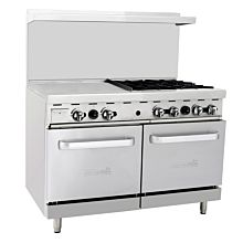 "Migali C-RO4-24GL 48"" 4 Burner Gas Range with 2 Ovens with 24"" Griddle"