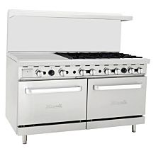 "Migali C-RO6-24GL 60"" 6 Burner Gas Range with 2 Ovens with 24"" Griddle"