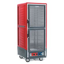 """Metro C539-HDC-4 28"""" Full-Size Insulated Red Clear Door Heated Holding Cabinet"""