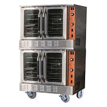 "Cookline CC100-DBL 38"" Double Deck Full Size Commercial Convection Oven with Casters - 108,000 BTU"