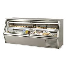 "Leader CDL96M 96"" Refrigerated Slanted Glass Raw Meat Deli Case with Gravity Coil Refrigeration, with 1 Shelf, Counter Height, ETL-S"