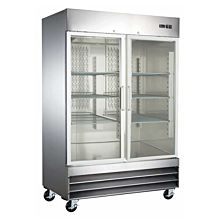 "Coldline MG48F 54"" Double Glass Door Reach-In Freezer, Stainless Steel - 38  Cu. Ft."