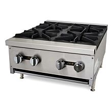 "Cookline CHP-24-4 24"" Gas Four Burner Commercial Countertop Hot Plate, 100,000 BTU"