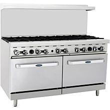 "Atosa CookRite ATO-10B 60"" Gas Restaurant Range, 10 Burner, 2 Standard Oven - 304,000 BTU"