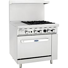 "Atosa CookRite ATO-12G4B 148,000 Btu Gas Restaurant Range, 4 Burner, Standard Oven, 12"" Manual Griddle"