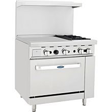 "Atosa CookRite ATO-24G2B 36"" Gas Restaurant Range, 2 Burner, Standard Oven, 24"" Manual Griddle - 125,000 BTU"