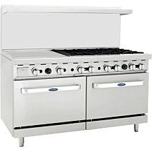 "Atosa CookRite ATO-24G6B 60"" Gas Restaurant Range, 6 Burner, 2 Standard Oven, 24"" Manual Griddle - 252,000 BTU"