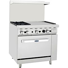 "Atosa CookRite ATO-2B24G 36"" Gas Restaurant Range, 2 Burner, Standard Oven, 24"" Manual Griddle - 125,000 BTU"