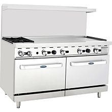 "Atosa CookRite ATO-2B48G 60"" Gas Restaurant Range, 2 Burner, 2 Standard Oven, 48"" Manual Griddle - 206,000 BTU"