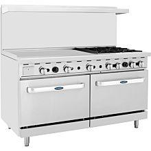 "Atosa CookRite ATO-36G4B 60"" Gas Restaurant Range, 4 Burner, 2 Standard Oven, 36"" Manual Griddle  - 229,000 BTU"