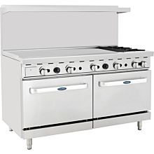 "Atosa CookRite ATO-48G2B 60"" Gas Restaurant Range, 2 Burner, 2 Standard Oven, 48"" Manual Griddle - 206,000 BTU"