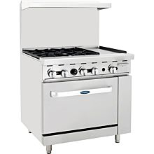 "Atosa CookRite ATO-4B12G 148,000 Btu Gas Restaurant Range, 4 Burner, Standard Oven, 12"" Manual Griddle"