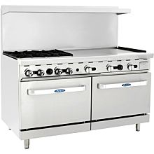 "Atosa CookRite ATO-4B36G 60"" Gas Restaurant Range, 4 Burner, 2 Standard Oven, 36"" Manual Griddle - 229,000 BTU"