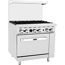 "Atosa CookRite ATO-6B 36"" Gas Restaurant Range, 6 Burner, Standard Oven - 177,000 BTU"